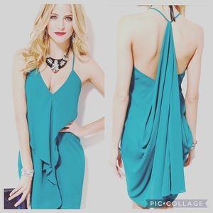 Akira Aqua Blue Drape Dress Sundress Ruffle M